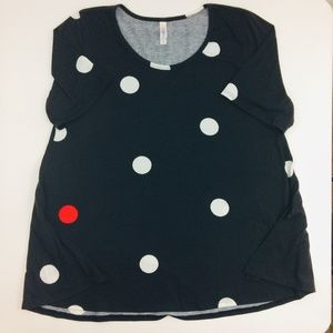 LuLaRoe Black White Tunic Polka Dots Plus Size 2XL